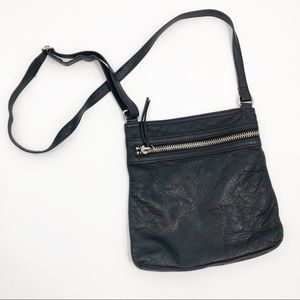 MARGOT black leather crossbody bag purse moto